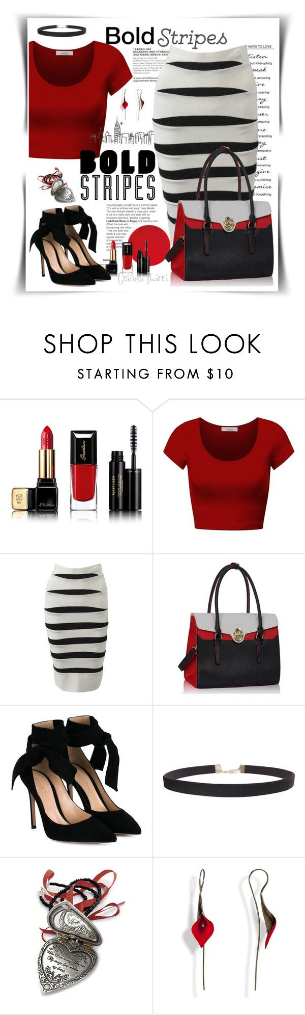 """""""Dearing and bold"""" by grachy ❤ liked on Polyvore featuring Guerlain, DK, Hervé Léger, Gianvito Rossi, Humble Chic, stripes, bold, polyvoreeditorial and BoldStripes"""
