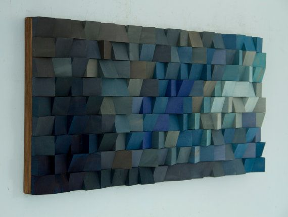 Wood Wall Art monochromatic wood art in blues by ArtGlamourSligo