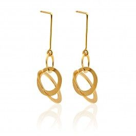 Galaxy Gold Plated Earrings - Handcrafted Danish Design. Louise Bech's Galaxy earrings in 18-karat gold plated sterling silver are not only beautiful pieces of jewellery, but they're also unique works of art. Not only has Bech infused a bit of Danish culture into these orbiting circles by cutting them to have diameters that are lucky numbers in Denmark, but she has handcrafted each piece, so no two are exactly alike. http://www.nuuru.com/en/galaxy.html