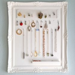 Untangle your necklace chains and earrings with a frame jewelry display! Personalize your jewelry with a Bradley's custom frame to match any bedroom, bathroom or closet space.