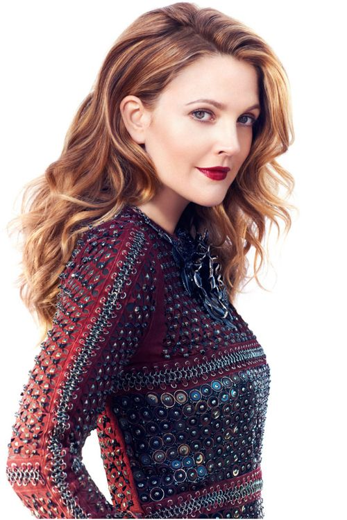 Drew Barrymore in Instyle Sept 2013 long hair style