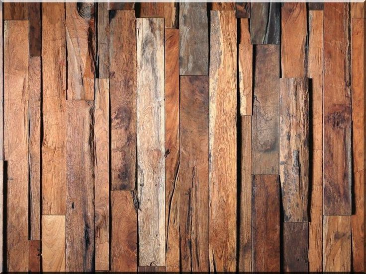 Real, solid 3d wood wall coverings, oak planks, litter