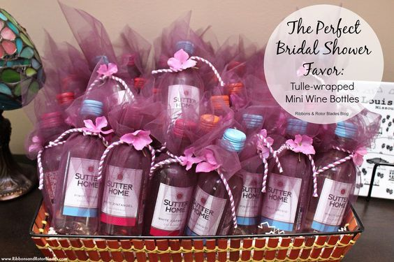 The perfect bridal shower favor:  a tulle-wrapped mini wine bottle!  (make sure to get a variety of reds and whites to accommodate varying tastes!)