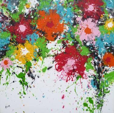 "Saatchi Art Artist Isabelle Pelletane; Painting, ""Color Flowers"" #art #painting #colorful #abstract www.isabellepelletane.com"