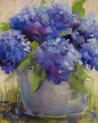 Hydrangeas 8x10 pastel, painting by artist Karen Margulis