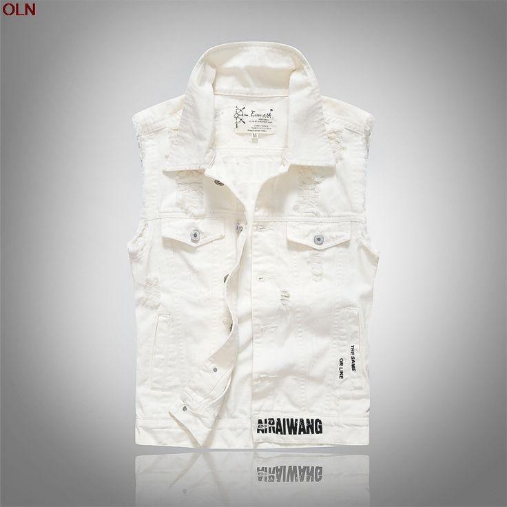 2017 new hole cultivate one's morality character tide men denim vest printed letters milk white denim vest