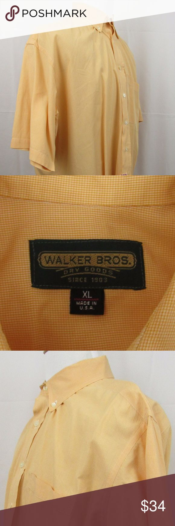 """🇺🇸   Walker Bros size XL button front shirt Made in the USA. This is Walker Brothers short sleeve 100% cotton orange and white micro check shirt.  I consider it to be in good used condition but please zoom in throughout to make a determination. It measures 22"""" shoulder to shoulder; 28 1/2"""" pit to pit. It is 32"""" long with 11"""" sleeves. INV-H13-170149 Walker Brothers Shirts Casual Button Down Shirts"""