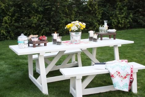 Cheap, Easy, Beginner Project. Build a Providence Bench and Table. Plans at Ana-White.com