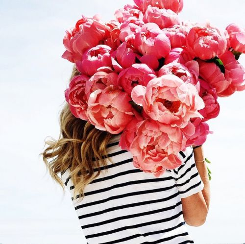 Peonies + stripes.:
