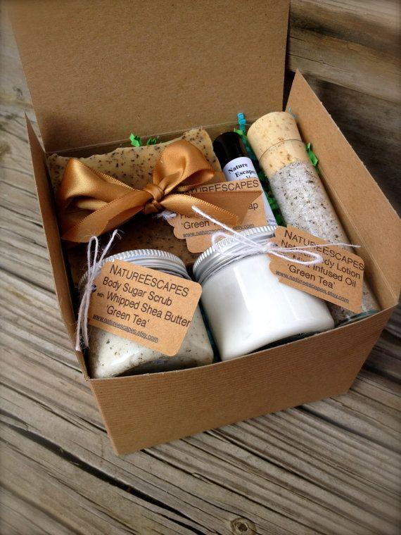 Green Tea Spa Gift Set, Holiday Bath Set, Soap Gift Set with Soap, Lotion, Body Scrub, Lip Scrub and Lip Balm