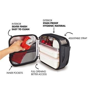 NOMAD Compact  -  For cold lunches. Sac isotherme souple + 2 boites Repas LUNCH BOX Pique Nique NOIR