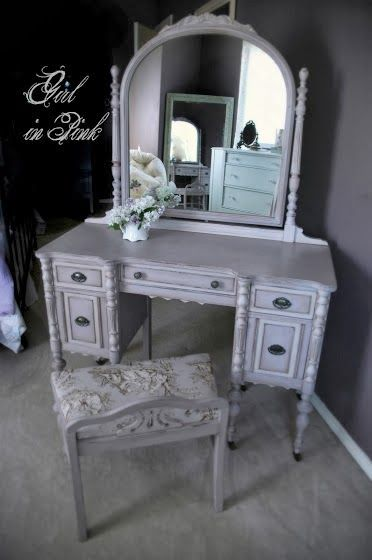 Vintage Vanity Makeover In Shades Of Paloma Chalk Paint