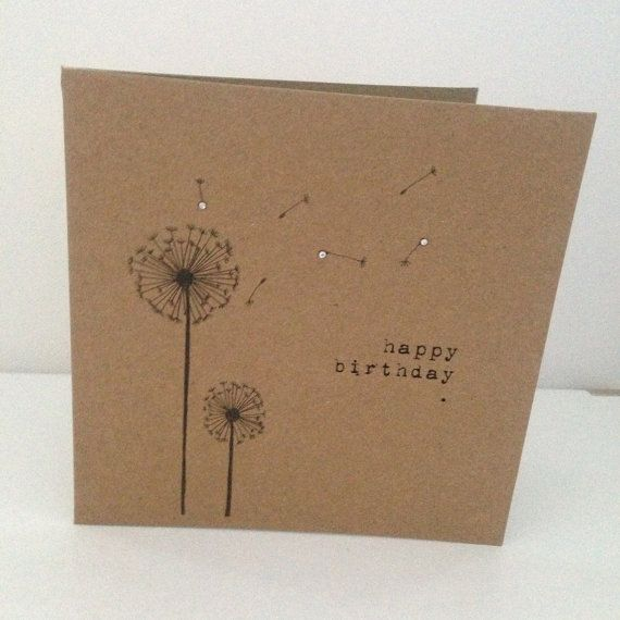 Vintage Style Shabby Chic happy birthday card - in typewriter with hand drawn dandelions with crystal detail- hand made on Etsy, £2.50