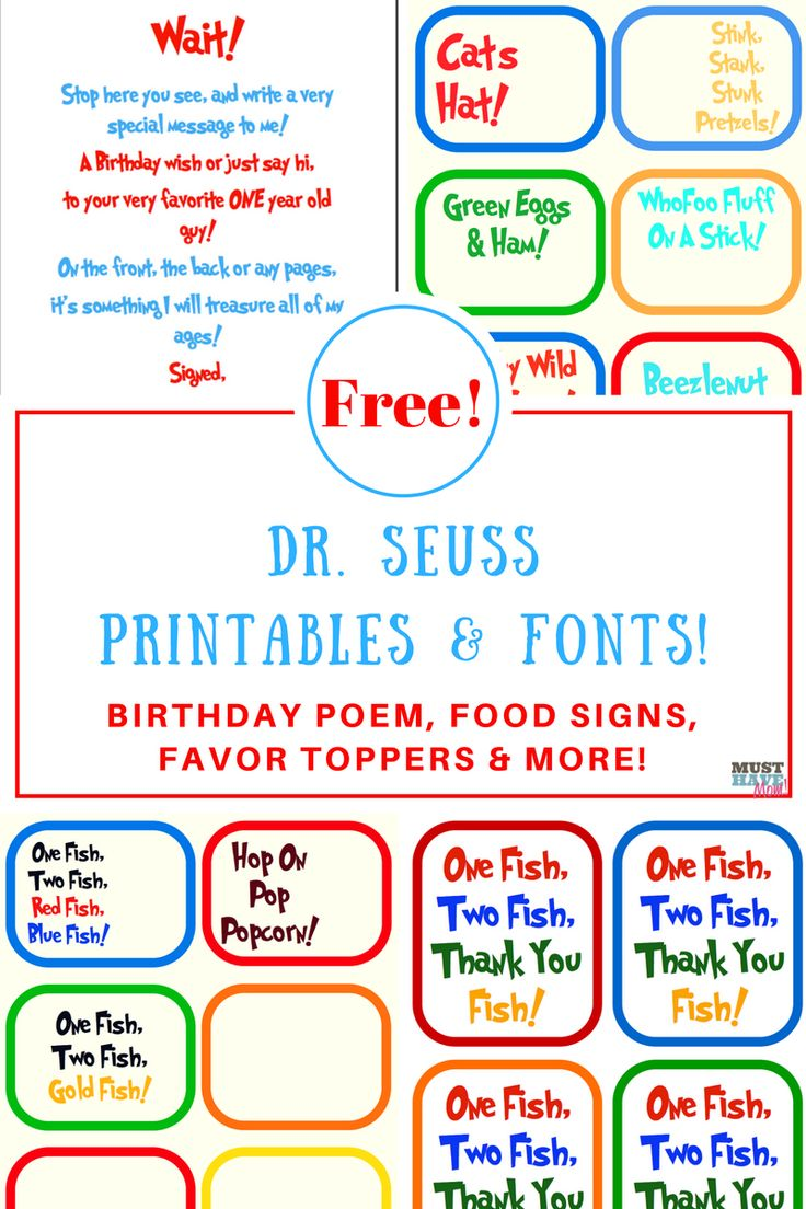 Dr. Seuss Birthday party ideas, free Dr Seuss printables, Birthday poem, food signs, Dr Seuss printable decorations and more! Free Dr. Seuss fonts too!