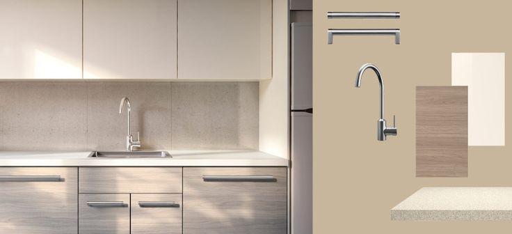 AKURUM kitchen with SOFIELUND light grey walnut effect doors/drawers and ABSTRAKT yellow-white high-gloss doors