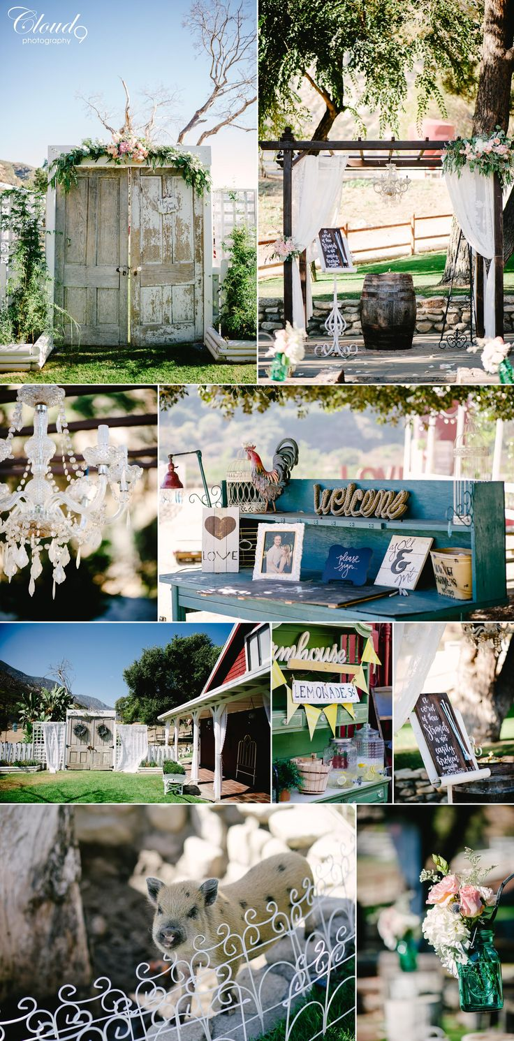 Blush floral, white drapery and chandeliers at the altar, a rustic door for the bride's entrance, teal accents, lemonade stand, smores and popcorn stations, oh my! what's not to love about this wedding! Wedding held at Sweet Pea Ranch, Upland, CA. www.LoveCloud9.com #LoveCloud9 #Cloud9Brea #Cloud9Photography