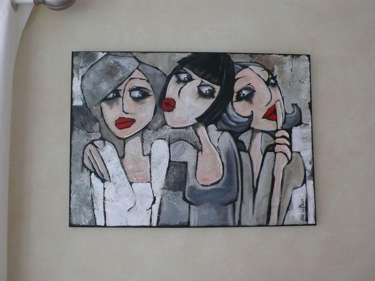 Les Baigneuses de Cabourg 80 x 80 cm Les...