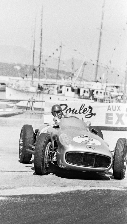 Juan Manuel Fangio (Mercedes) GP Monaco May 22 1955. DNF lap 49 transmission. Race won by Maurice Trintignant (Ferrari) one of only two Cars to complete all 100 laps. Highest-placed Mercedes Stirling Moss (9th) DNF lap 81 engine.