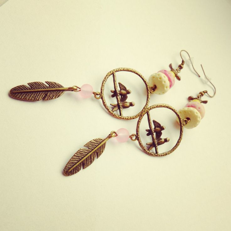 hand made earring, birds, pastels color, feather and FIMO BY SHARYS