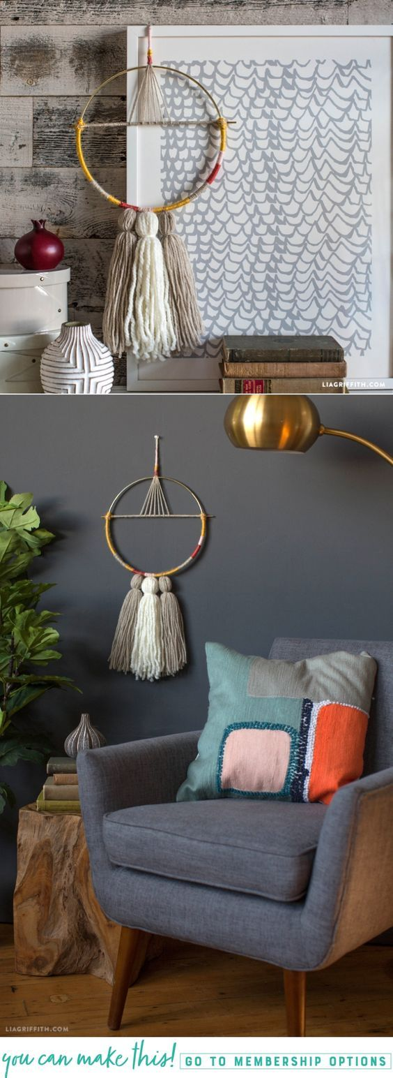 DIY Yarn Wall Hanging - Lia Griffith - www.liagriffith.com #diyinspiration #diyhomedecor #macrame #yarn #wallart #diyproject #diyprojects #madewithlia