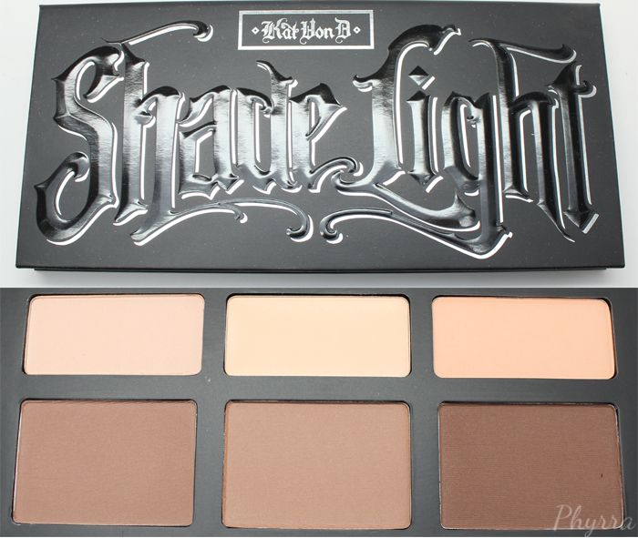 NEW PHYRRA!: The Pale Girl's Guide to Highlightig and Contouring! One of her picks: Kat Von D Shade + Light Contour Palette - Phyrra.net I really like this pick because these are matte shades, I think you get more definition and depth with matte shades for contouring, and it's better for oilier/combo skin to use matte. You don't want a shimmery highlight shade especially if you have big pores, that will just accentuate it.