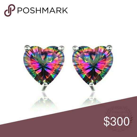 Coming Soon! 3Ctw Heart Shaped Mystic Fire Topaz Heart shaped Concave cut Mystic Fire Topaz gemstone Earrings. 3 prong setting solid 925 Sterling Silver Fine Jewelry Jewelry Earrings