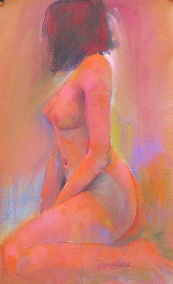 Pastel life drawing by Dan Villiers