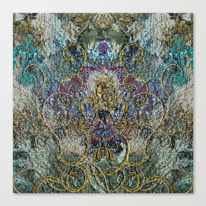 Fantasy in blue and gold Canvas Print by Bozena Wojtaszek   Society6