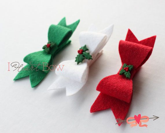 Navidad fieltro arco pelo Clip Set flor Santa por iheartbow