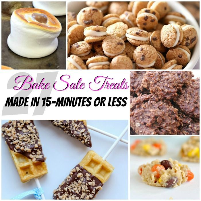 My son is always volunteering me for bake sales. For just such emergencies, here's a list of 27 Bake Sale Treats that take 15-minutes or less to make.