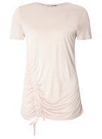 Womens Ruched Front T-Shirt- Pink