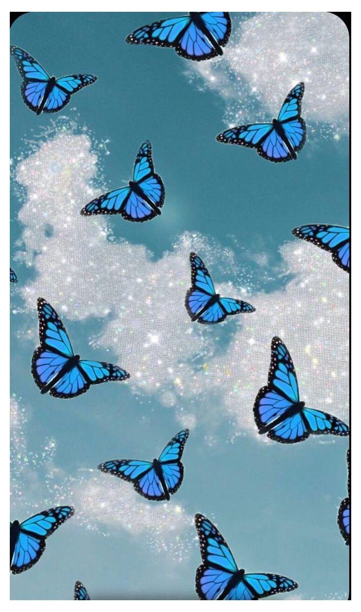 Blue Glitter butterfly #baby #blue #aesthetic #butterfly # ...