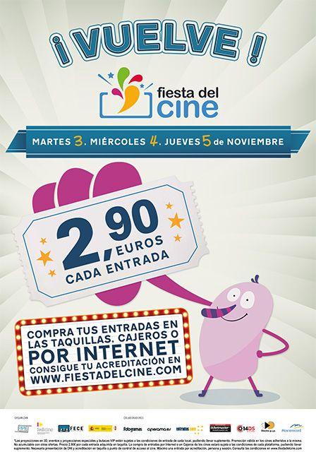 ¡Y por fin ha vuelto la #FiestaDelCine 2015! ¡Vente al cine los días 3, 4 y 5 de noviembre por tan sólo 2,90€! Consigue tu acreditación.