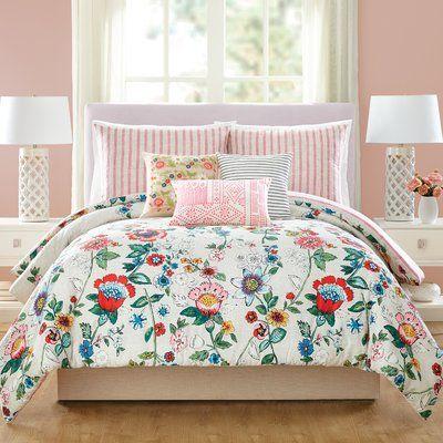 Coral Floral Cotton Reversible Comforter Set