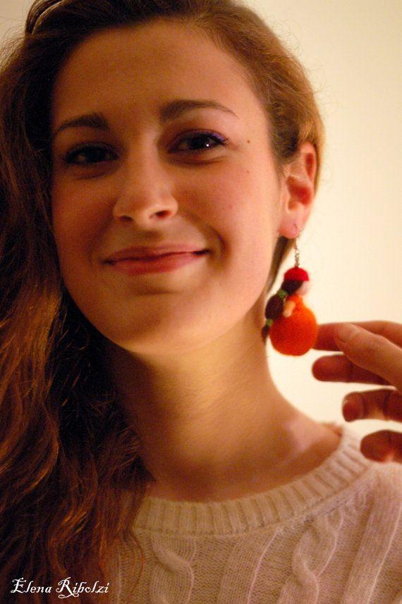 Mini Aranciotta Orecchino singolo Spilla di LeBambinediCaldalana