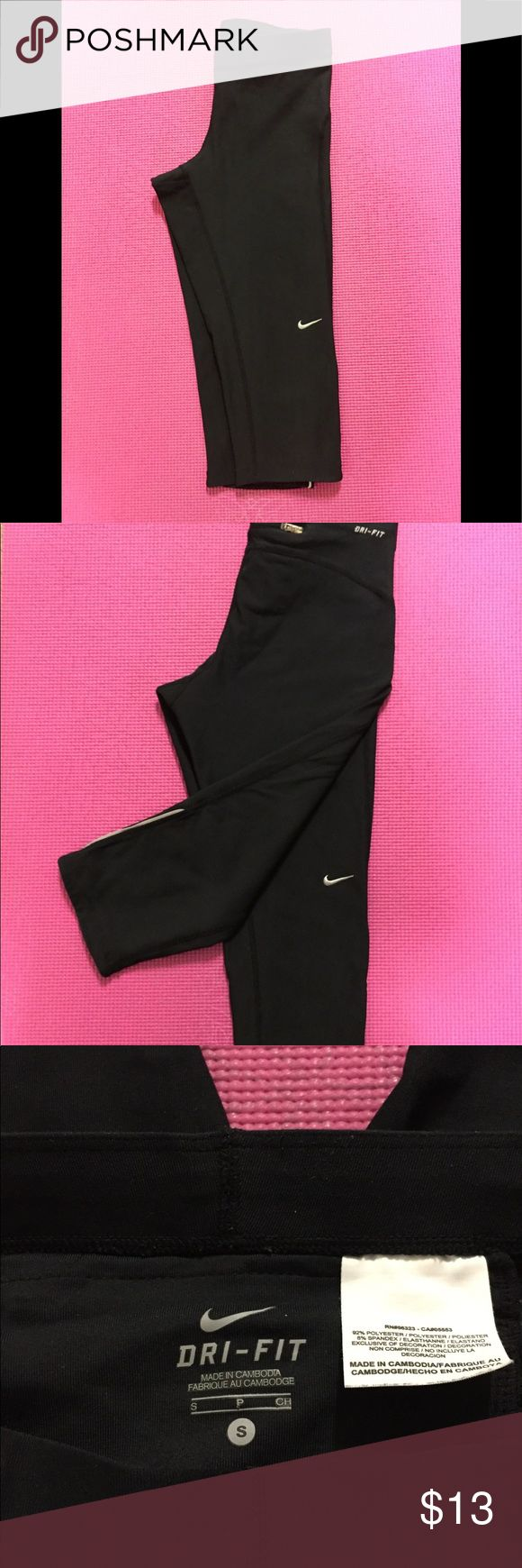 Nike Capri Running Tights Black Size Small Black Nike Capri Running Tights  Size Small  Reflective stripe on sides Zippered deep pocket on back Good pre-owned condition Nike Pants Track Pants & Joggers
