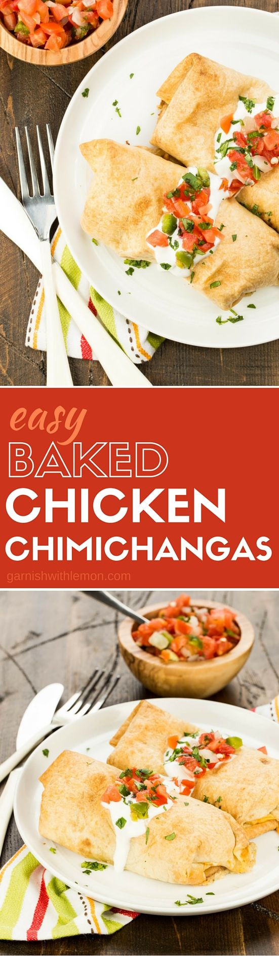 These Easy Baked Chicken Chimichangas use rotisserie chicken in the filling making it a weeknight dinner winner.