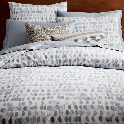 Organic Half Moon Duvet Cover, Twin, Shimmer Blue