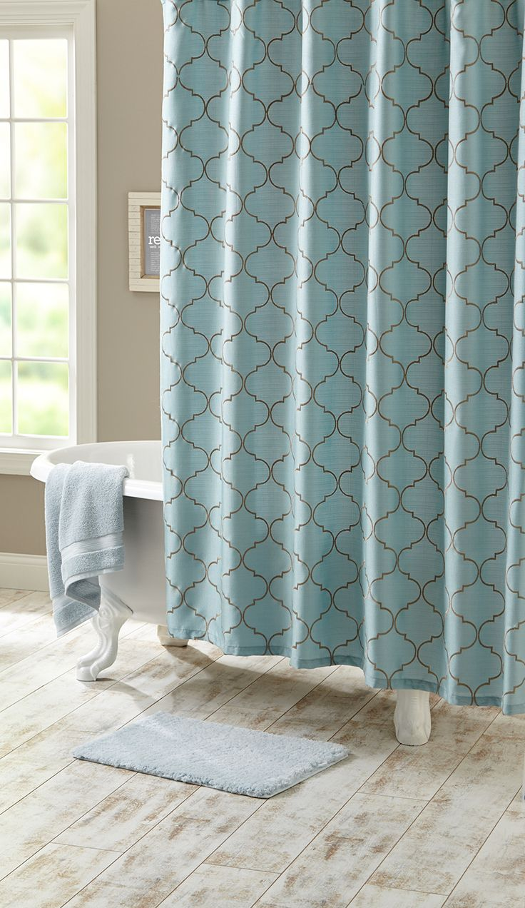 Aqua blue bathrooms are the best bathrooms! Try this Scalloped Trellis Embroidered Fabric Shower Curtain for your home.