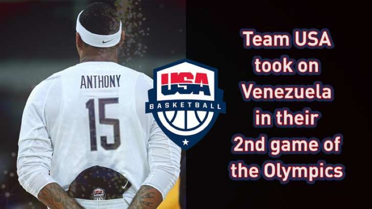 US shakes off sluggish start, blasts Venezuela 113-69  -  August 8, 2016  -  VIDEO  -    Red, white and blase for one quarter, the U.S. Olympic team woke up and won with ease.