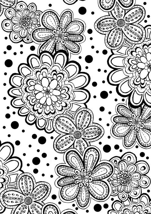 Flower Abstract Doodle Zentangle Coloring Pages Colouring