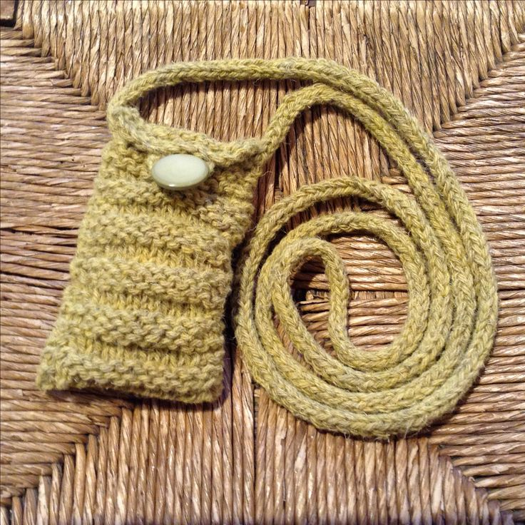 Hand-knit phone bag, especially Scottish ... from Colonsay Blackface sheep, dyed with Bog Myrtle