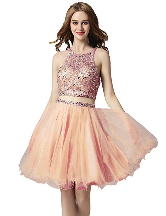 4ff95b41660f Amazon.com  Sarahbridal Women s Short Tulle Beading Homecoming Dresses 2018  Prom Party Gowns
