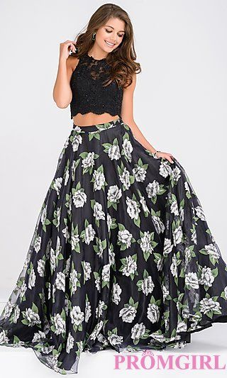 Long Two Piece Floral Print Sleeveless Prom Dress at PromGirl.com