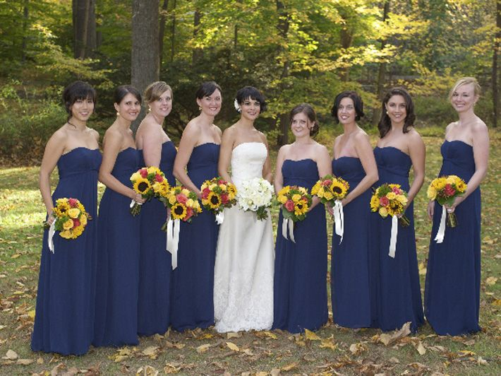 Navy Bridesmaid Dresses with Sunflowers –