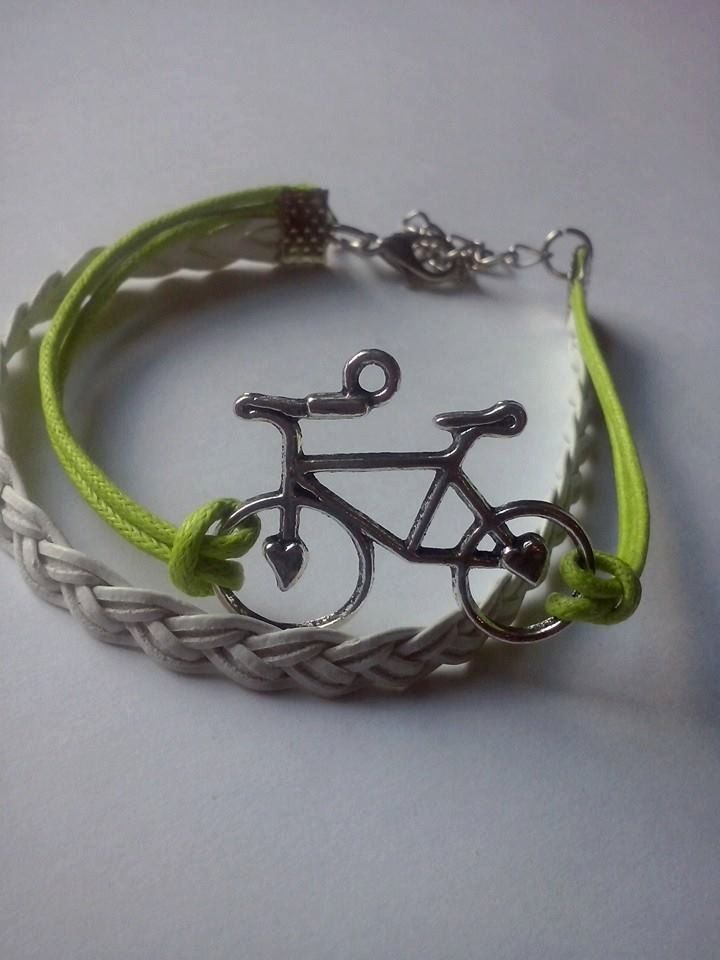 Bike bracelet, triathlon love bracelet,friendship bracelet,leather bracelet by TriJewelry on Etsy