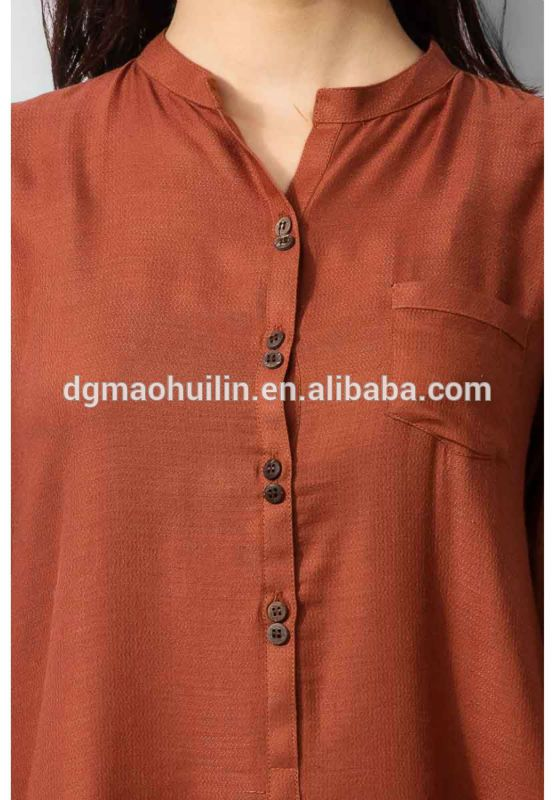 Rust Chinese Collar Ladies Kurta Designs Ladies Long Kurta Designs
