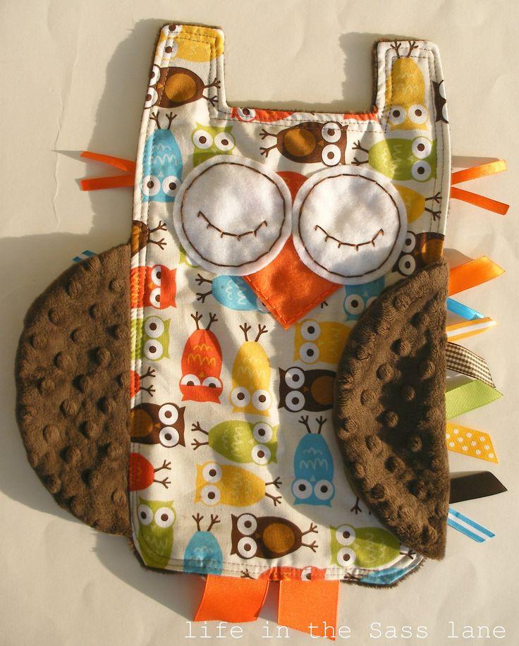 Owl Ribbon Tag Baby Blanket