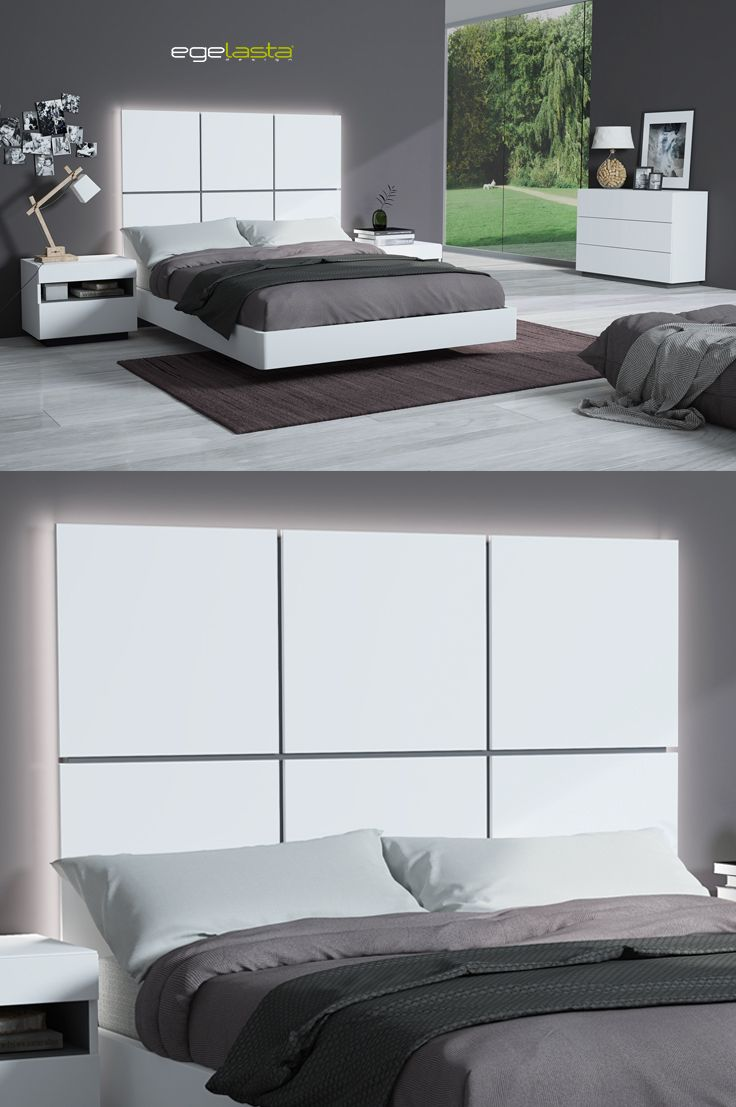 Egelasta · Mueble · Moderno · Madera · Mobiliario de hogar · Catálogo New Live · Noche · Dormitorio · Cama con cabezal Plaza y mesita de noche Aries · Laca blanco