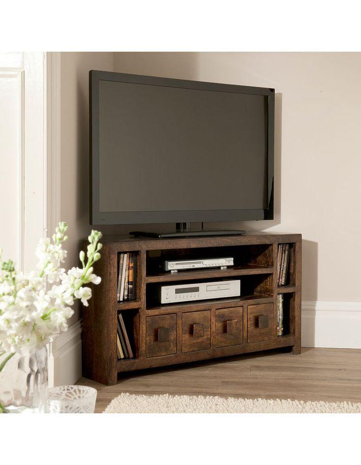 Flat TV Corner Stand Dakota Mango Large Corner TV Cabinet